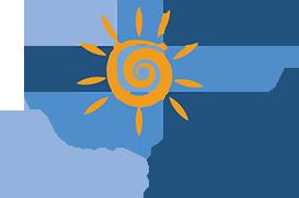 Logotipo iHomeResort - Sol Amarelado em centro cercado de quadrados azulados